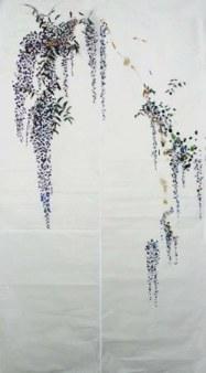 179*49 cm (2 panneaux) - 2007 Crayon à la cire, pâte à modeler, or et huile sur papier chinois