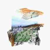 Sans titre. Peinture numérique - Format carré de taille variable - 2015 Encre et acrylique sur risographie - 30x40 cm - 2016